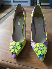 Dorothy Perkins Neon Yellow Patterned Embellished Court Shoes