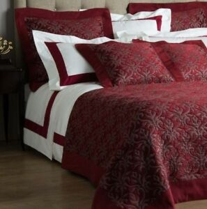 $3200 NEW FRETTE Luxury Platinum Coverlet BEDCOVER Ruby Red Queen