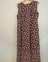 Donna Ricco Sleeveless Summer Floral Blue Ivory Rayon Maxi Dress 16 Tie Back E29