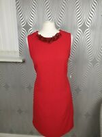 Wallis Red Scoop Neck Sleeveless Attached Necklace Shift Dress Size 12