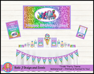 Personalised Trolls Glitter Birthday Party Decorations Favours