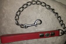 Petface Staffy Bulldog Extra Heavy Steel Chain Lead Red Leather Handle