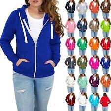Womens Solid Zip Hoodies Sweatshirt Fleece Long Sleeve Ladies Jacket Hooded Top