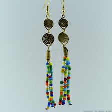 Color Bead Strand Earrings 130-24 Maasai Market Handmade African Jewelry Multi