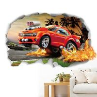 3D Car PVC Wall Stickers Background Bedroom Living Room Fridge Home Removable