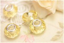 2 pz Perle foro largo vetro sfaccettate , colore giallo trasparente