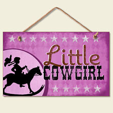 Western Lodge Cabin Decor ~Little Cowgirl~  Wood Sign W/ Braided Rope Cord