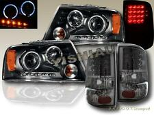 2004-2008 FORD F150 DUAL HALO LED PROJECTOR HEADLIGHTS + LED SMOKE TAIL LIGHTS