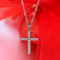 Women Cross Crystal Rhinestone Pendant Necklace Sweater Chain Jewelry MA
