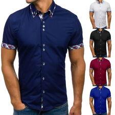 Men Stylish Short Sleeve Casual Shirt Lattice Summer Slim Fit Dress Shirt Top CI