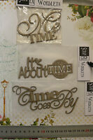 CHIPBOARD Wordlets- It's About TIME, ME TIME - 3 Mixed Design Choice Scrap FX W1