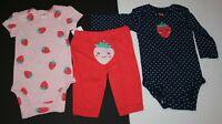 New Carter's Girls 3 Piece Strawberry Bodysuit Tops Pant Set Preemie NB 3m 18m