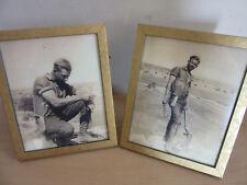 2 Old Framed Pictures of John Blackford King, Actor, Minor with Shovel, Pistol