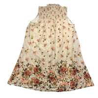 New $70 value STYLE&CO 1X Beige Floral Lined Mesh Slvless Smocked A-line Dress