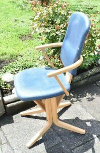 Vintage Design Stuhl Bürostuhl Federung Lederbezug # 19