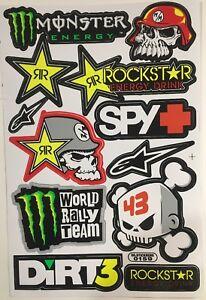 12 Rockstar Energy Drink Stickers Dirt Pit Bike MTB Motocross Helmet BMX Quad