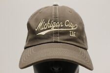 MICHIGAN CITY, INDIANA - BROWN - ONE SIZE - ADJUSTABLE BALL CAP HAT!