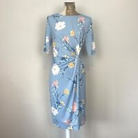 Anthology Dress 12 Blue Floral Pencil Shift Fitted Twist Knot Occasion Evening