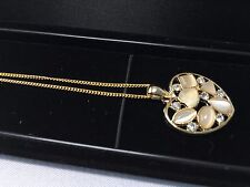 Cat's Eye White Stone Necklace Pendant Gold Plated Chain with Display Case