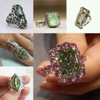 Sparkling Peridot 925 Sliver Kunzite Ring Wedding Bridal Proposal Party  Sz6-10