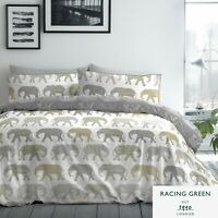 Racing Green ELEPHANTS Duvet Cover Set Quilt Bedding Double King Size Easy Care