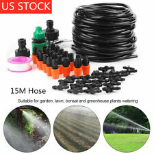 Micro Drip Water Irrigation System Greenhouse Plant Garden Watering 15M Hose Kit