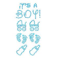 Konfetti Its a Boy Strass Steine Sticker Türkis - Geburt Baby Shower Taufe Deko