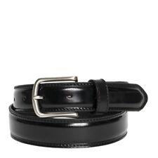 Cintura Uomo in Pelle di Vitello Spazzolato Nera 3,5cm - Made in Italy