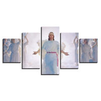 Jesus in Heaven religious 5 Pc Canvas Wall Art Print Picture Poster Home Decor