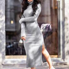 Womens Sweater Dress Split Elastic Turtleneck Long Sleeve Bodycon Knitted Dress