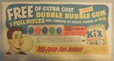 "Kix Cereal Ad: ""Free Double Bubble Gum ! ""  from 1930's-1940's 7.5 x 15 inches"