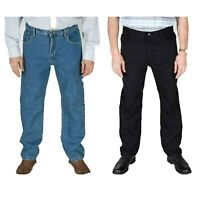 Carabou Mens Jeans Straight Leg Regular Fit Black Stonewash Blue Denim Pants