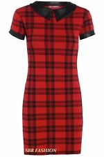 Ladies Womens Check Tartan Peter Pan PVC Collar Cap sleeve Tunic Dress