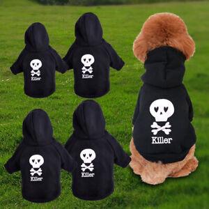 XS-L Black Skull Pet Dog Hoodie Coat Clothes Outwear Apparel Puppy Cat Jacket