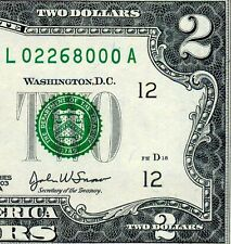 2003-A $2 FRN (( Birthday Note )) February 2, 1968 Uncirculated # L02268000A