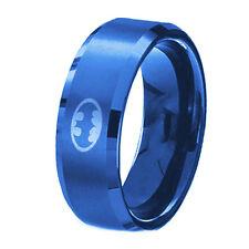 8MM Stainless Steel Titanium Band Ring Batman Logo Wedding Size Man Women 6-14