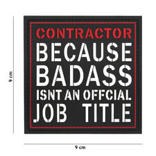 Contractor Badass is no Job Patch Klett Logo Airsoft Paintball Tactical Softair