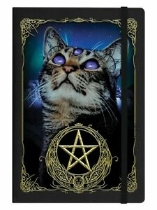 Notebook Witchy Familiar A5 Hard Cover Black 14x21cm Cat Cats Moon Witch, spells