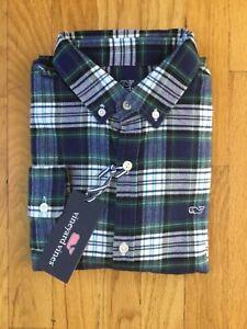 NWT Boy's Vineyard Vines LS Charleston Green Flannel Whale Shirt M Or XL $55