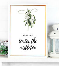 Kiss Me Under The Mistletoe Christmas Print XMAS PICTURE A4 Watercolour Wall ART