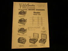 Vintage paper advertising Brochure V-M Record player changer tri-o-Matic price