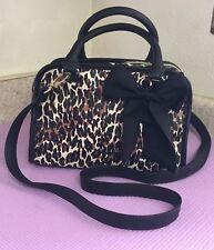 Betsey Johnson CHEETAH Print  Satchel Bag Shoulderbag Purse Black Bow NWOT