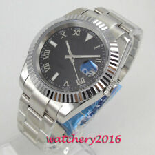 40mm PARNIS Sterile Black Dial solid Sapphire Date Automatic Movement mens Watch
