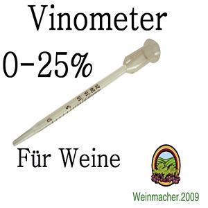 Vinometer 0 - 25%  Alkoholmeter Weinmeter Alkoholmesser für Weine 0-25% vol.