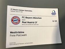 Sammler Ticket UEFA Youth League FC Bayern München Real Madrid Ungeknickt 21.02