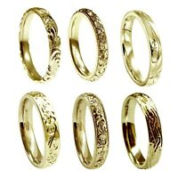 Hand Engraved 9ct Yellow Gold 3mm Wedding Rings Court Comfort NEW UK HM Bands