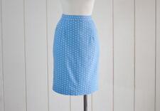 1980s Vintage Blue and White Polka Dot Straight Pencil Skirt size medium
