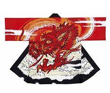 New HAPPI Japanese Festival Coat  Dragon Red Room wear Kimono Japan Import F/S