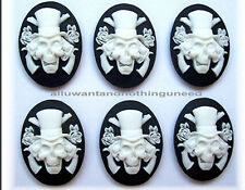 6 Goth Punk Halloween White on Black SKULL w/ GUNS and ROSES 40mm x 30mm CAMEOS