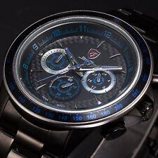 SHARK Men's Date Chronograph Black Stainless Steel Quartz Sport Wrist Watch